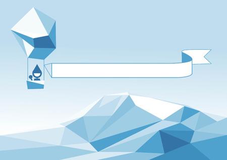 aerostat: Vector illustration of aerostat flying above the iceberg.