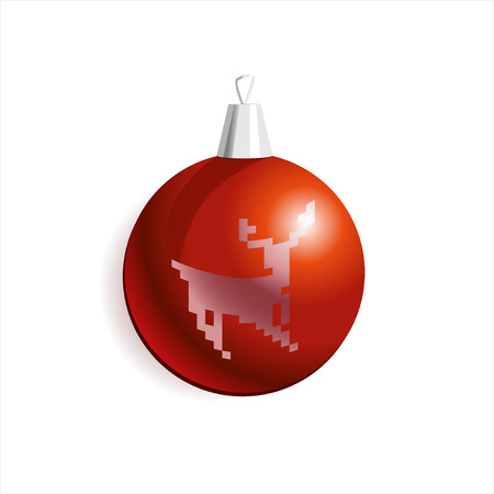 merry chrismas: Vector illustration of Christmass card with red decoration ball with a deer.