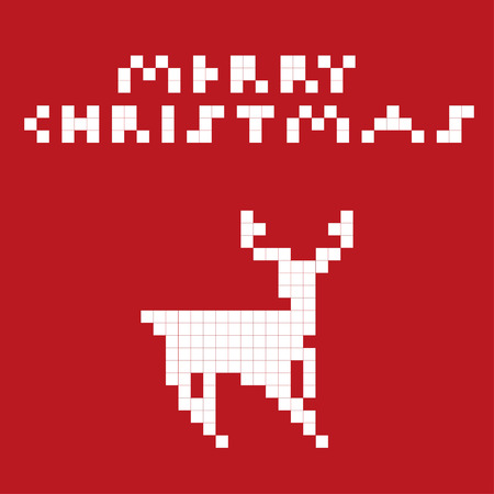 Vector illustration of a pixel art deer. Vector