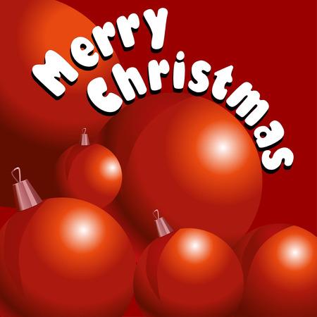 christmass: Ilustraci�n vectorial de tarjeta de Christmass con la decoraci�n roja ballsl sobre fondo rojo.