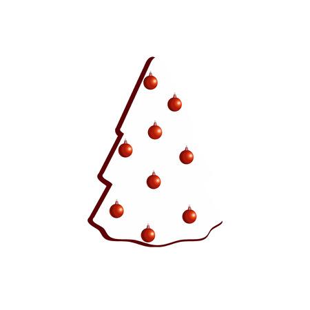 christmass: Ilustraci�n del vector del �rbol de Navidad minimalista blanco sobre fondo blanco.