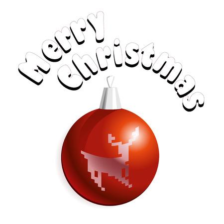 christmass: Ilustraci�n vectorial de tarjeta de Christmass con decoraci�n de bolas de color rojo con un ciervo.
