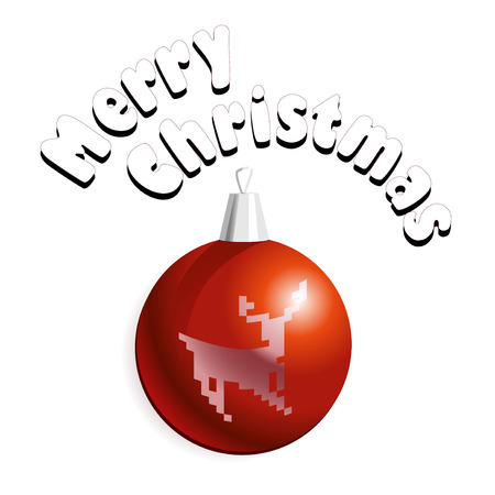christmass: Vector illustration of Christmass card with red decoration ball with a deer.