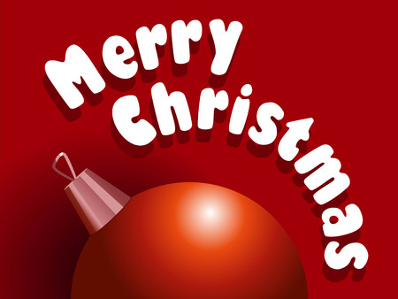 christmass: Vector illustration of Christmass card with red decoration ball on red background.