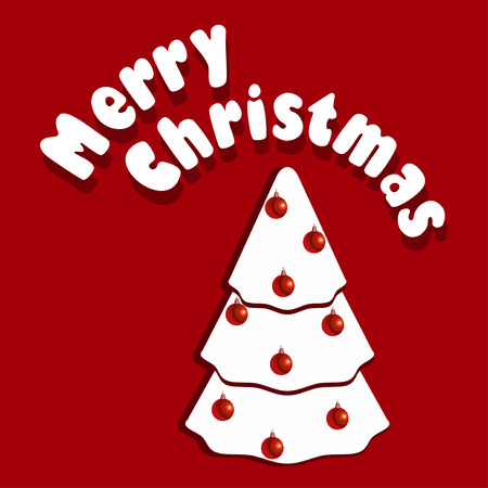 Vector illustration of Christmass card with white Christmas tree on red background. Vector