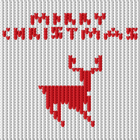 Vector illustration of a knitting with a deer. Vector