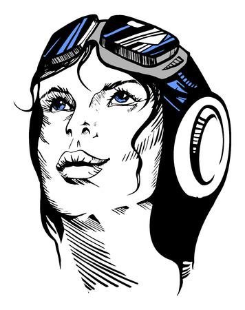 Vector illustration of a hand-drawn retro female portrait of a pilot. Ilustração