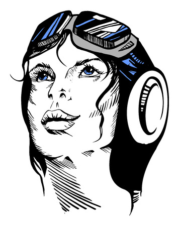 Vector illustration of a hand-drawn retro female portrait of a pilot. Vector
