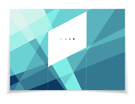 celadon blue: Vector illustration of polygonal tri-fold brochure template. Stylish blue crystal. Can be used as flyer, cover, business cards, envelope, and brochure background. Illustration