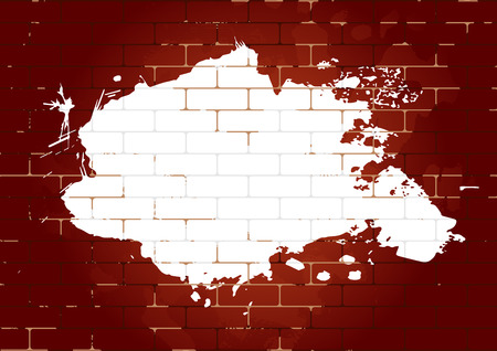 Brick wall with white paint blot. Design for your content. Can be used as flyer, cover, business cards, envelope, and brochure background. Vector