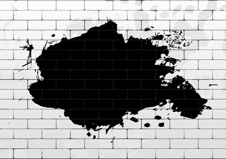 White brick wall with black paint blot. Design for your content. Can be used as flyer, cover, business cards, envelope, and brochure background. Vector