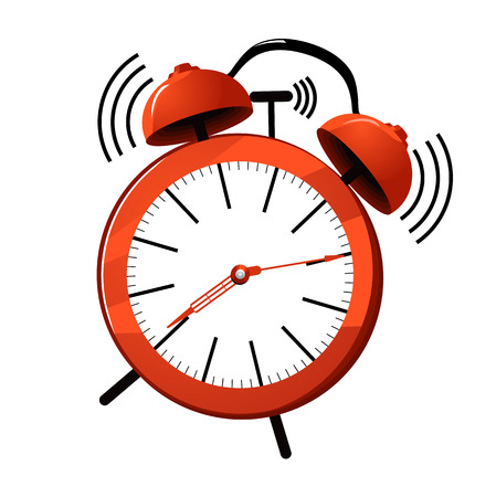 illustration of a red ringing alarm clock. Ilustracja
