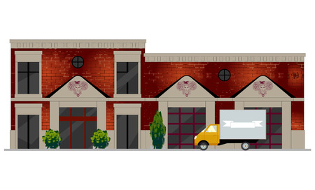 dwelling: Vector illustration of building facade. Facade view of old brick building with showcases and molding. Can be used as hospital, hotel, mall, pastry shop, or dwelling house for games and mobile apps.