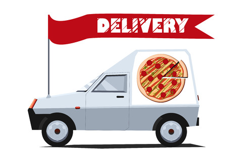 Vector illustration of delivery car with banner. Side view. Solid fill only.  Can be used for advertisement, game or mobile apps icon. Vector