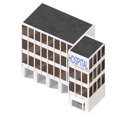 multistorey: Vector illustration of 3d building. Isometric view of multi-storey building. Can be used as icon of hospital, hotel, mall, business center, factory or dwelling house for games and mobile apps.