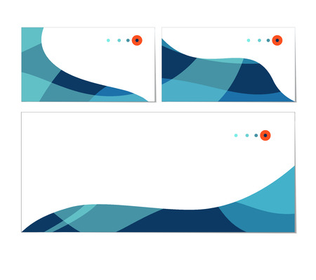 Vector set of business cards and envelope templates. Stylish blue waves. Can be used as flyer, cover, business cards, envelope, and brochure background. Illustration