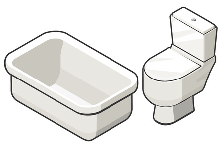 Vector illustration of isometric view of toilette bowl and bath. Contrast grey outline. Can be used as icon for games and mobile apps, or advertisement of plumbing store.