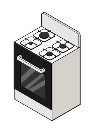 stove top: Vector illustration of isometric view of a stove. Contrast outline. Can be used as icon for games and mobile apps or advertisement.