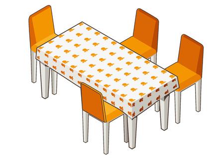 mesa de comedor: Ilustraci�n vectorial de la vista isom�trica de una mesa con mantel floreado y sillas. Contorno contraste. Se puede utilizar como icono para juegos y aplicaciones m�viles o anuncio. Vectores