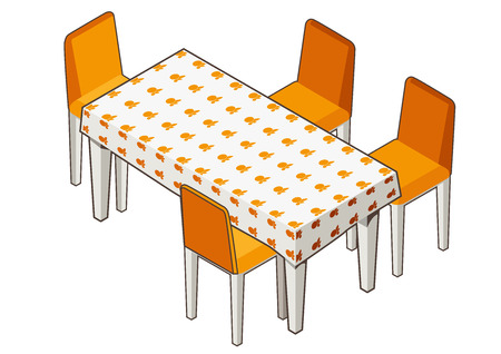 flowered: Vector illustration of isometric view of a dining table with flowered tablecloth and chairs. Contrast outline. Can be used as icon for games and mobile apps or advertisement.