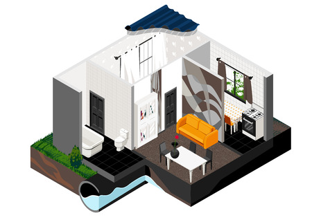 carpet floor: Vector isometric cut of a house. Single store building. Simple interior, schematic illustrating of sewerage arrangement. . Can be used as icon or gameplay for games and mobile apps. Illustration