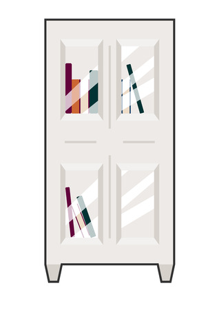 Front view vector illustration of a bookcase. White on white with contrast outline. Can be used as icon or gameplay for games and mobile apps. Vector