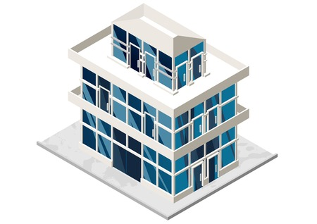 multistorey: Vector illustration of 3d building. Isometric view of multistorey building. Can be used as icon of hospital hotel mall business center factory or dwelling house for games and mobile apps.