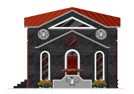 dwelling: Vector illustration of building facade. Facade view of black brick building isolated on white. Can be used as hospital hotel mall pastry shop or dwelling house for games and mobile apps.
