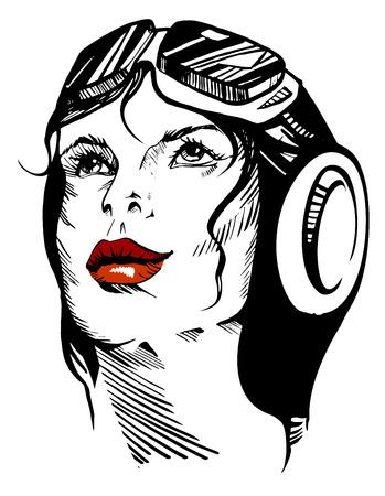 Vector illustration of a hand-drawn retro female portrait of a pilot. Illustration