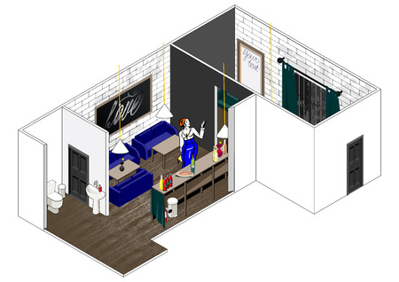 illustrating: Vector isometric cut of a house. Stylish interior, schematic illustrating of restaurant arrangement. Can be used as icon or gameplay for games and mobile apps.
