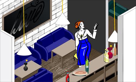 bar interior: Vector illustration of woman in bar interior. Stylish interior.
