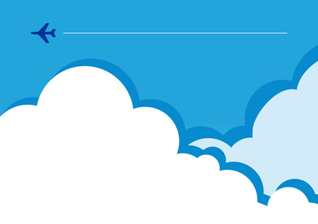 Vector illustration of a tiny flight silhouette in clouds. Can be used as flyer, cover, business cards, envelope, and brochure background. 矢量图像