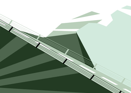 rope bridge: Vector illustration of flat designed winter mountains landscape with billboard. Can be used as flyer, cover, business cards, envelope, and brochure background.