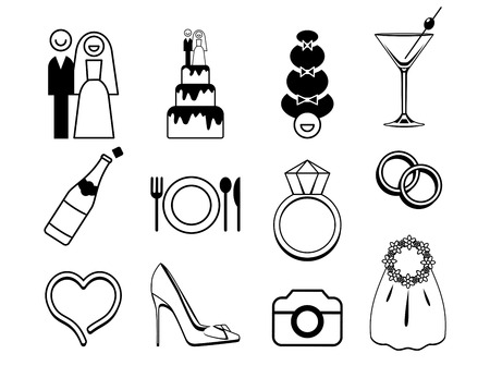 Vector wedding icons set. May be used for wedding decoration, cards, invitation, or some other romantic polygraphy.