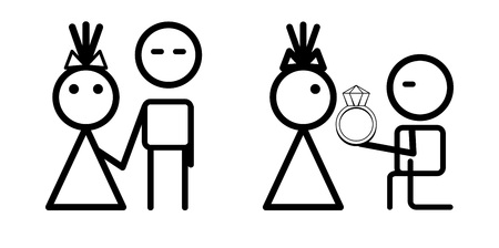 polygraphy: Vector proposal, engagement couple icons. May be used for wedding decoration, cards, invitation, or some other romantic polygraphy.