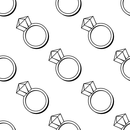 polygraphy: Vector linear seamless pattern with brilliant rings. May be used for wedding decoration, cards, invitation, envelopes or some other romantic polygraphy. Illustration