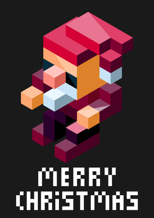 merry chrismas: Stylish vector Christmas card with 3d pixel art Santa Claus.