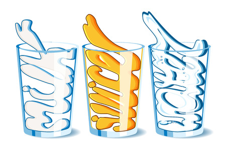 with liquids: illustration of three glasses with mil, orange juice and water. Stylish lettering, calligraphic stylization of liquids.