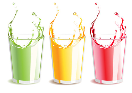 orange juice: illustration of a set of the splashing fresh colorful juices on white.  Orange juice, kiwi juice, cherry juice. Illustration