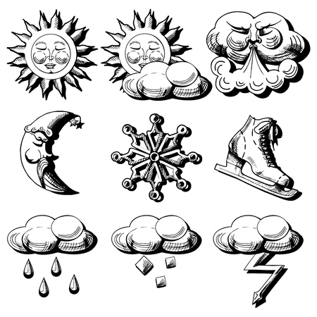 hail: Vector icons set of weather conditions in etching style. Sun, moon, rain, lightning, hail, cloudy, snow, sleet, wind.