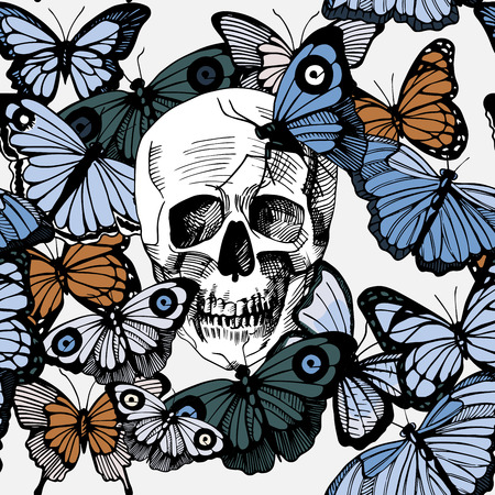 Vector illustration of skull surrounded and covered with multiple butterflies. Vintage old-fashioned engraving style Illustration