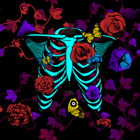 Vector illustration bones of chest surrounded and covered with plants, flowers, and butterflies. Bright neon colors