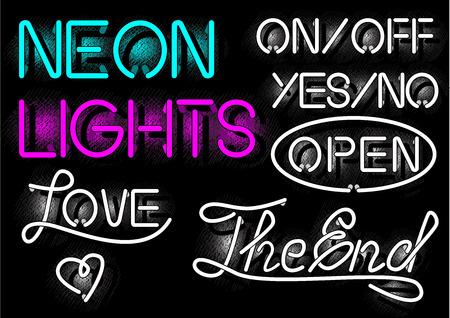 Illustration vectorielle des étiquettes de néons dans le style de gravure vintage démodé. On / off, oui / non, ouvert, amour, les inscriptions de fin
