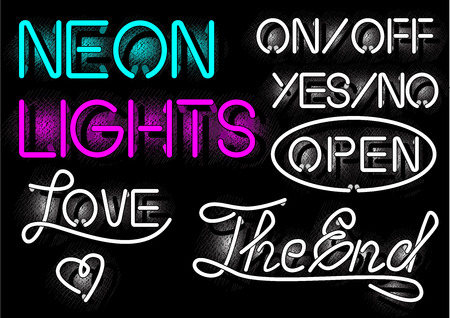 Vector illustration of neon lights labels in old-fashioned vintage engraving style. Onoff, yesno, open, love, the end inscriptions