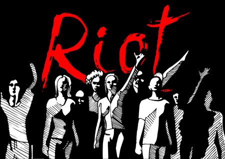 Vector illustratie van een menigte van mensen, ontmoeting met rode opschrift Oproer op de achtergrond. Inkt getekende stijl.