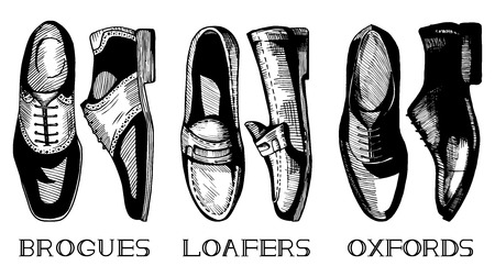 brogues: Vector illustration of men's classic shoes set in vintage ink hand drawn style. Brogues, Loafers, Oxfords; top and side view. Illustration