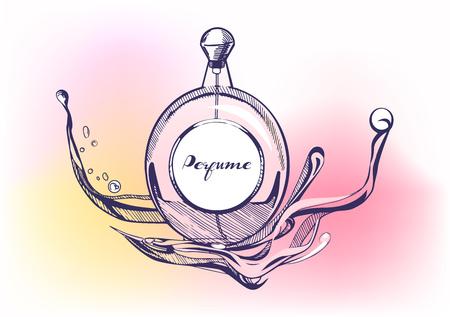 Illustrazione vettoriale di un profumo disegnato a mano con spruzzi su un luminoso sfondo colorato acquerello. Vintage stile disegnato a mano