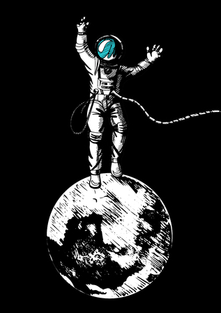 Vector illustration of astronaut standing on the moon. Vintage engraving style 일러스트