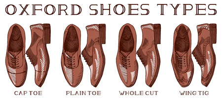Vector illustration of men�s suit oxford shoes set: cap toe, plain toe, whole cut, wing tig. Vintage drawing style. Иллюстрация