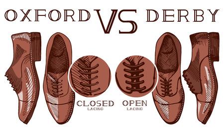 Ilustración vectorial de una infografía, que ilustra la diferencia entre los zapatos de traje de hombre de Oxford y derby: lazada abierta y cerrada. Estilo de dibujo vintage. Ilustración de vector